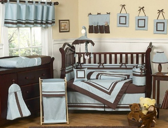 Baby Blue And Brown Bedding