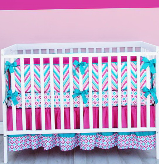 Baby Girl Crib Bedding Chevron