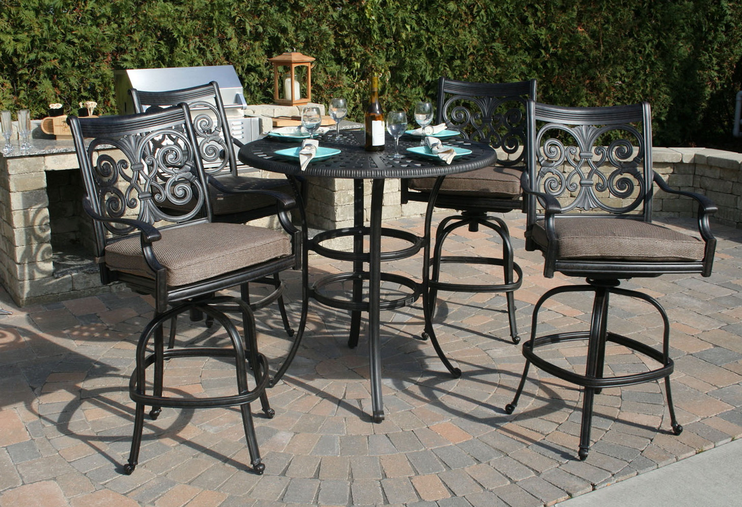 Cast Aluminum Patio Furniture Bar Height