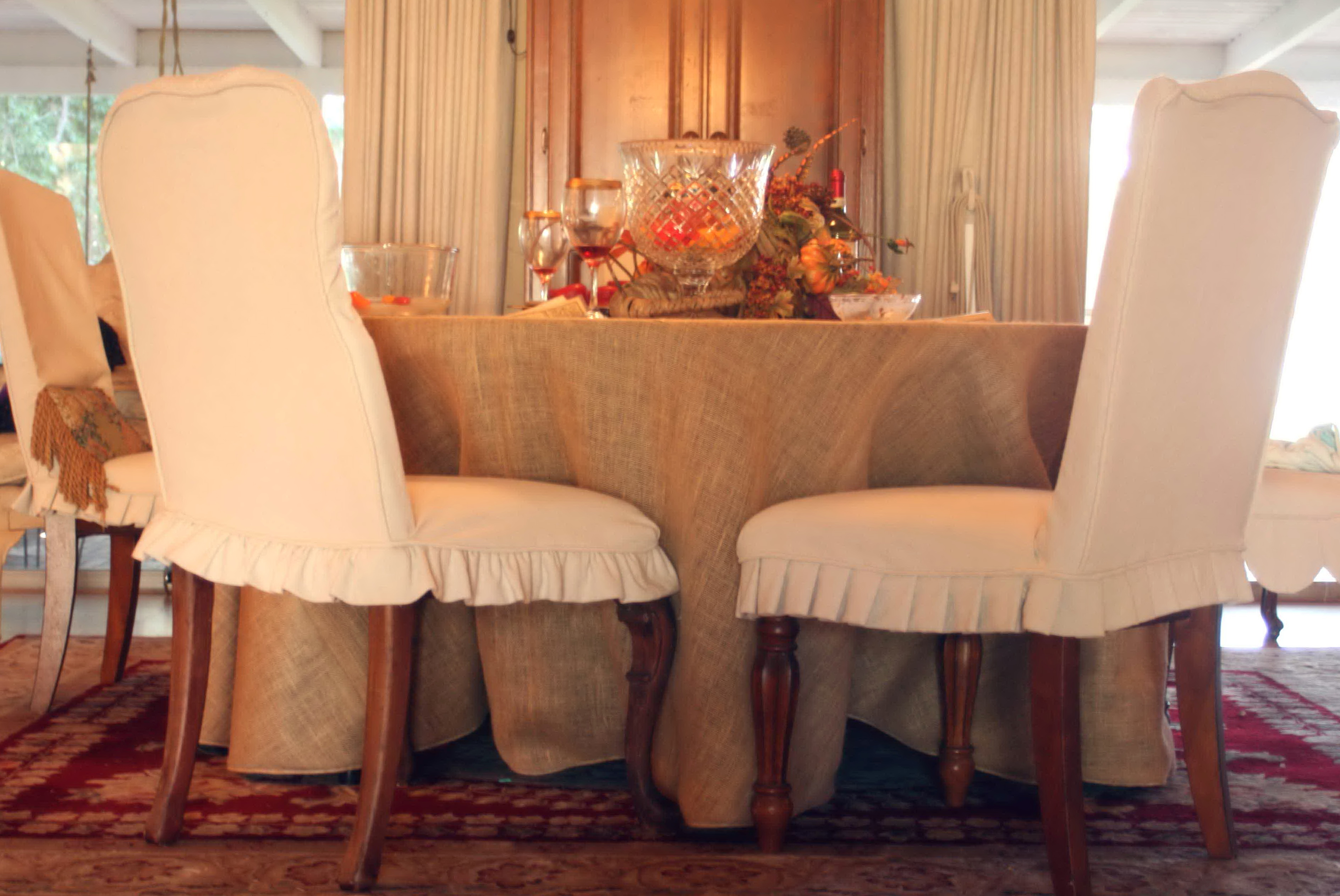 Burlap Dining Chair Slipcovers
