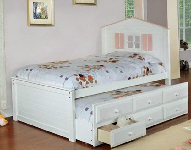 Captains Bed Twin White
