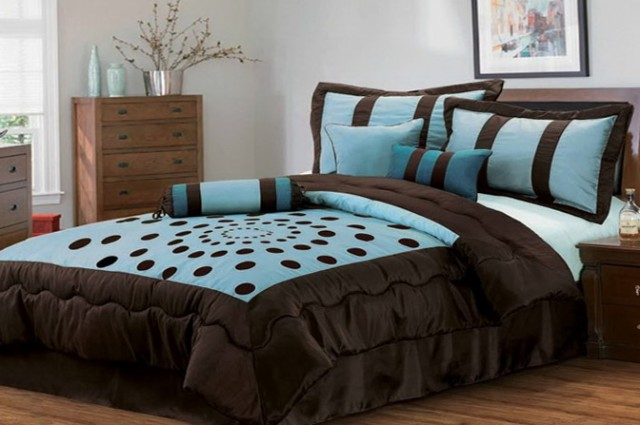 Chocolate Brown And Tiffany Blue Bedding
