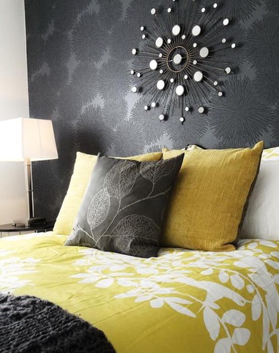 Dark Gray And Yellow Bedding