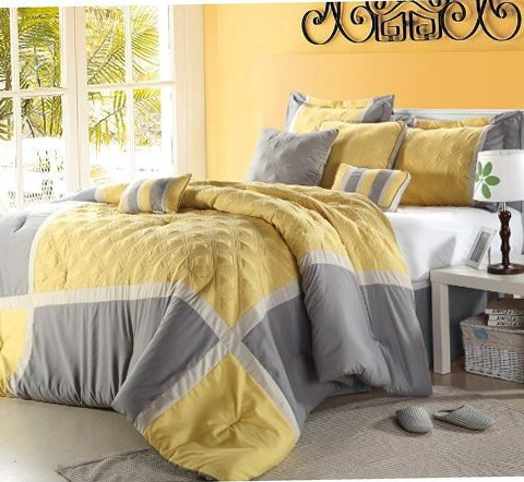 Dark Grey And Yellow Bedding