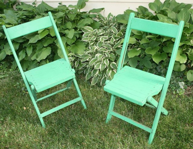 Painted Wooden Folding Chairs