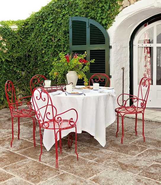 Red Wrought Iron Patio Furniture