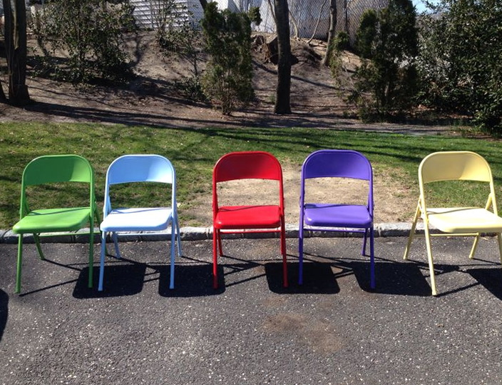 Spray Paint Metal Folding Chairs