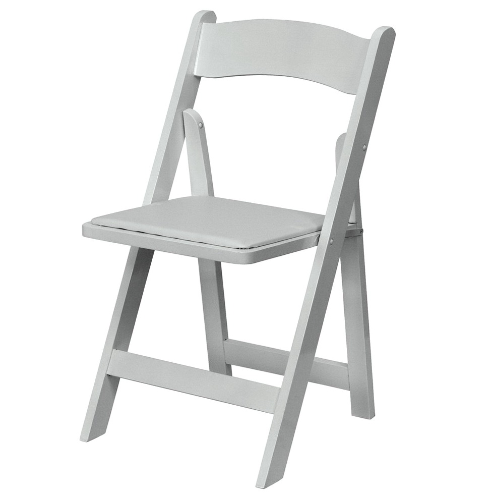 White Wood Padded Folding Chairs