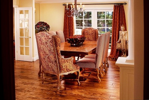 Wing Back Chairs At Dining Table