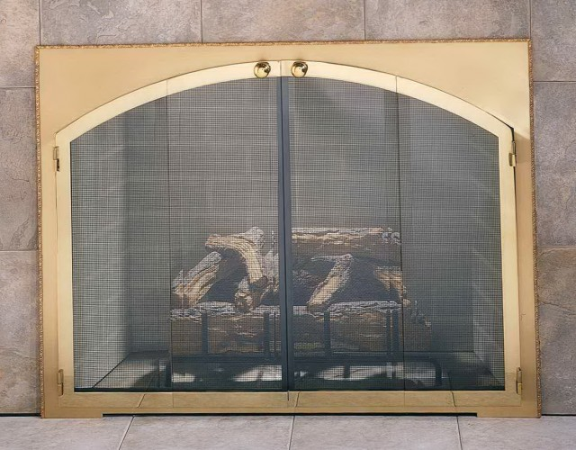 Arched Glass Fireplace Doors