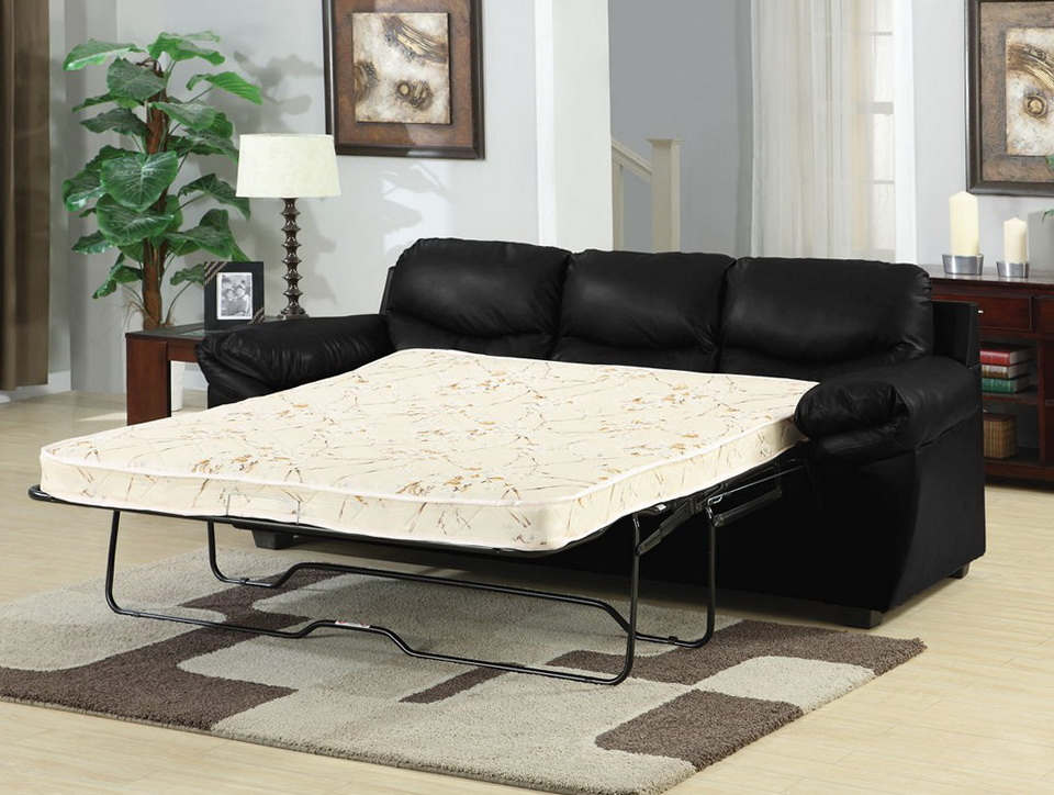 Black Leather Sleeper Sofa