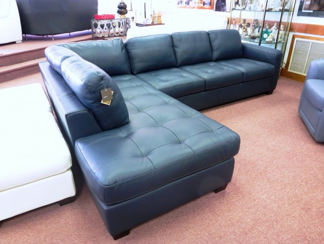 Blue Natuzzi Leather Sofa