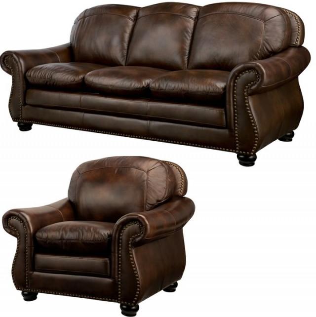 Brandon Distressed Whiskey Italian Leather Sofa