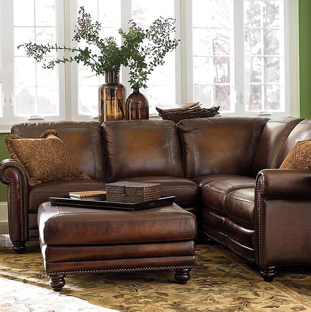 Distressed Leather Sofa Sectional