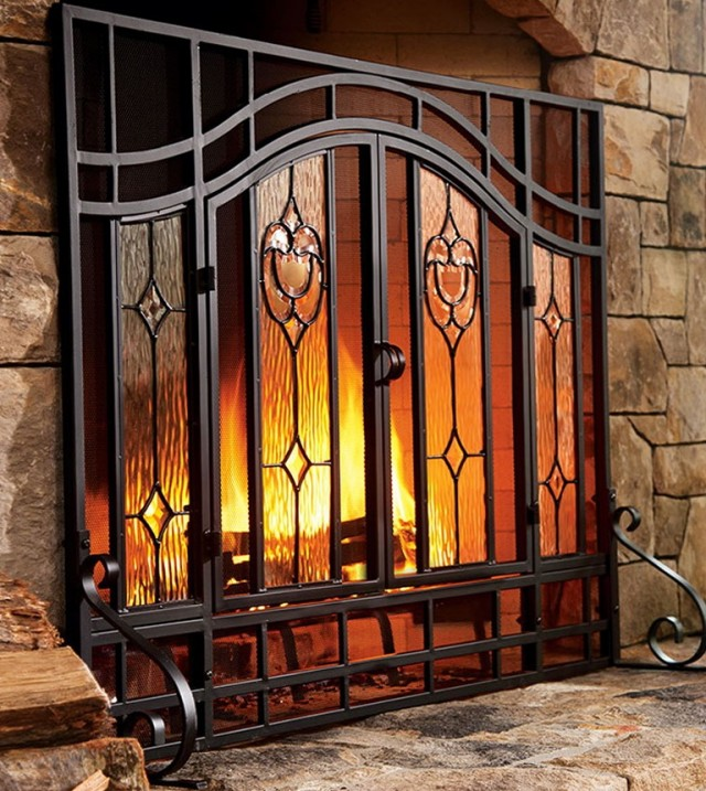 Fireplace Glass Doors With Screens