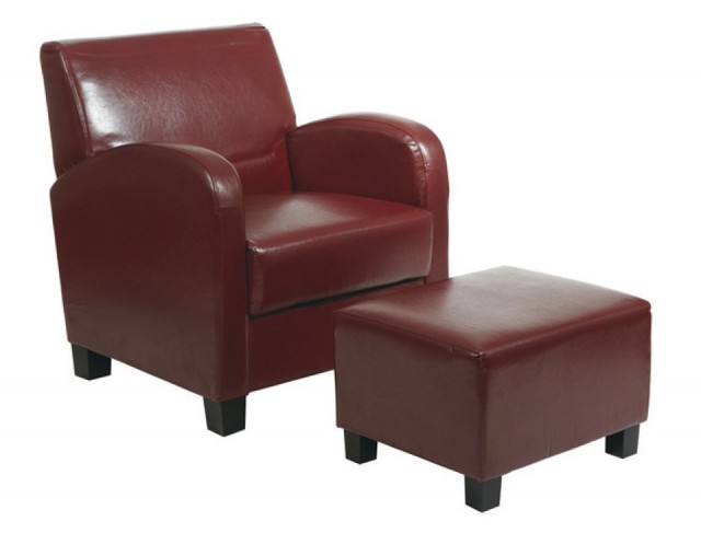 Leather Club Chairs Ottomans