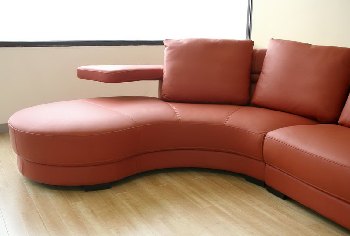 Leather Curved Sectional Sofa