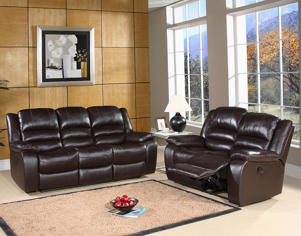 Leather Reclining Sofa With Console