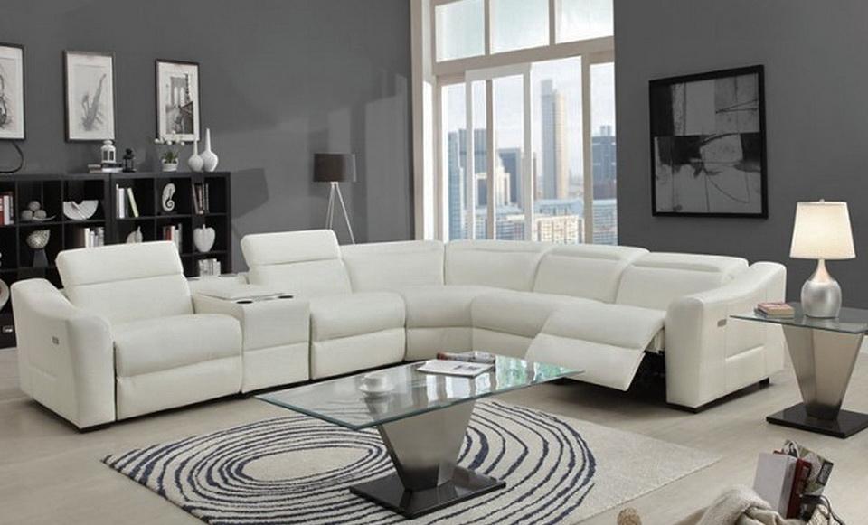 Modern Leather Reclining Sofa
