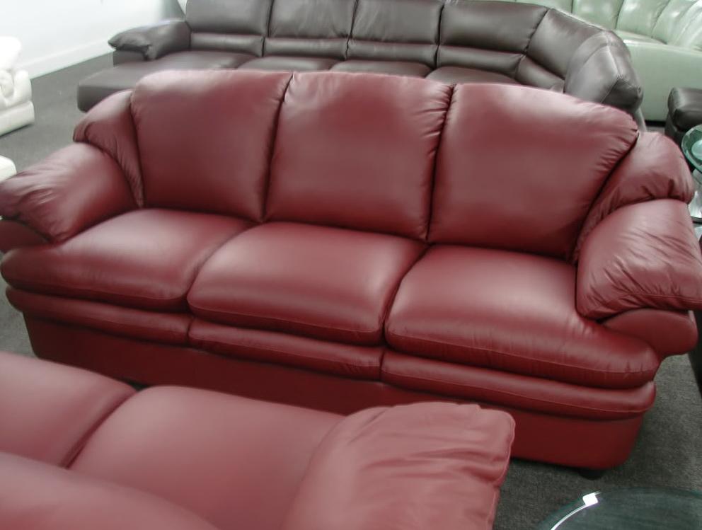 Red Natuzzi Leather Sofa