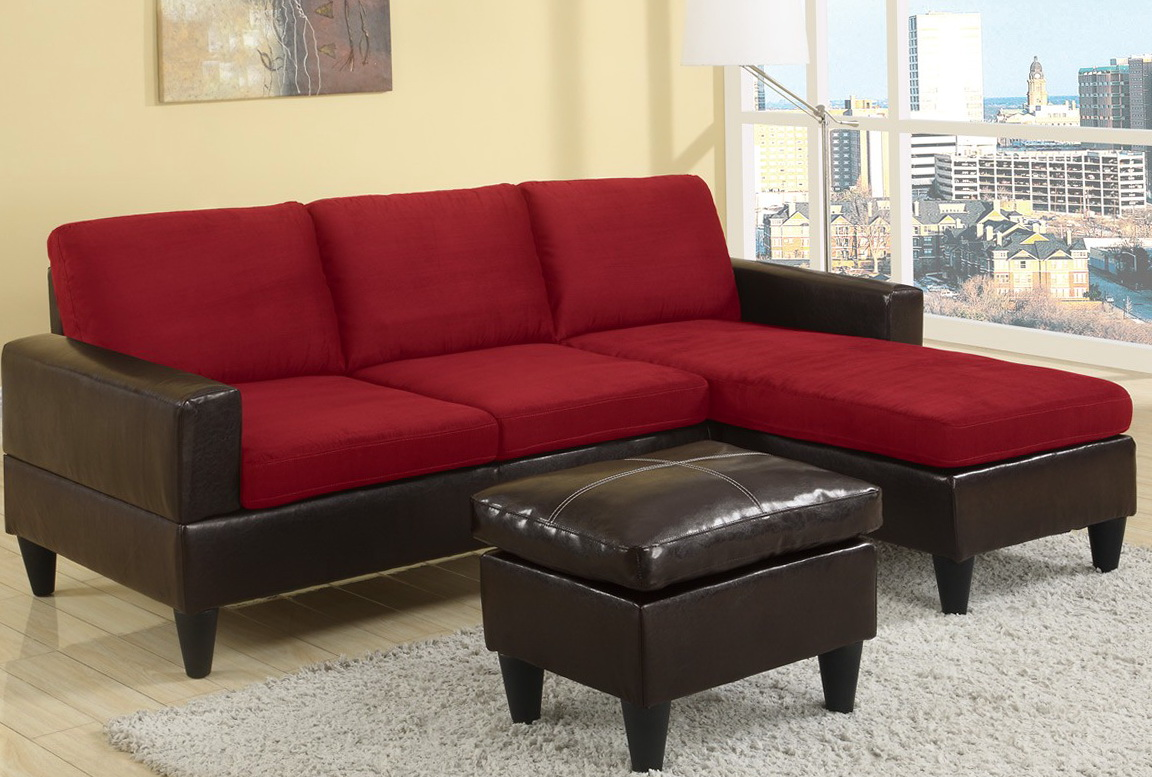 Red Sectional Sofa With Ottoman