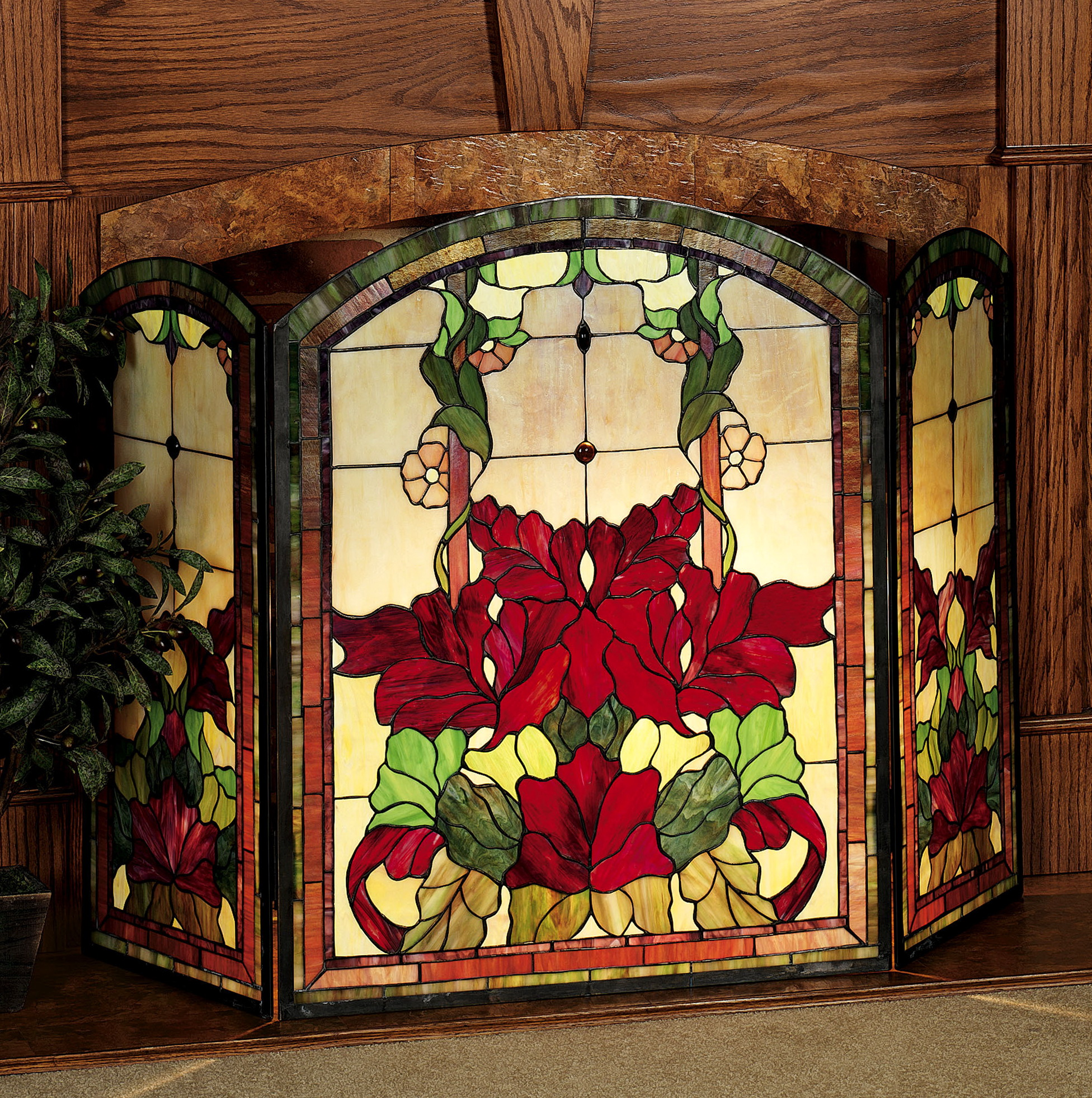 Stained Glass Fireplace Doors