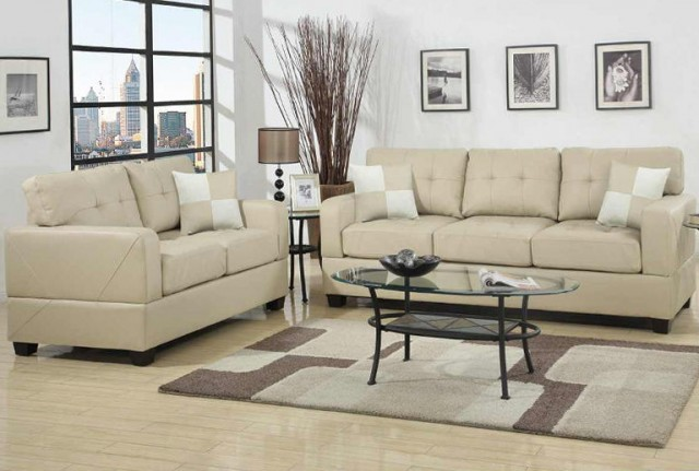 Tufted Leather Sofa Set