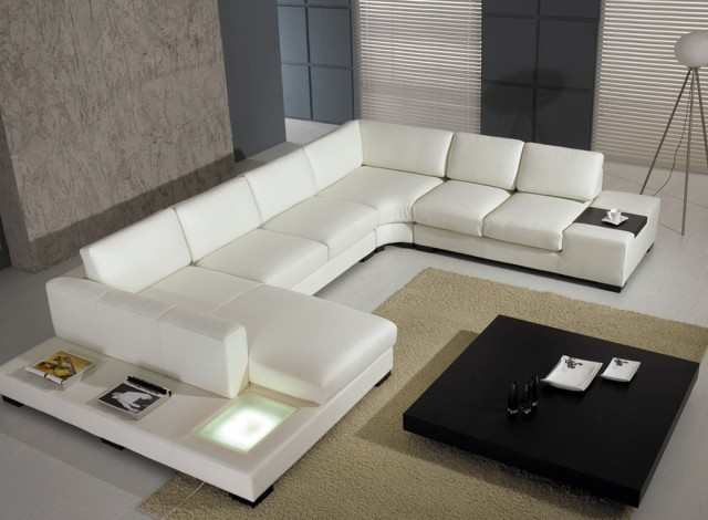 White Tufted Leather Sofa