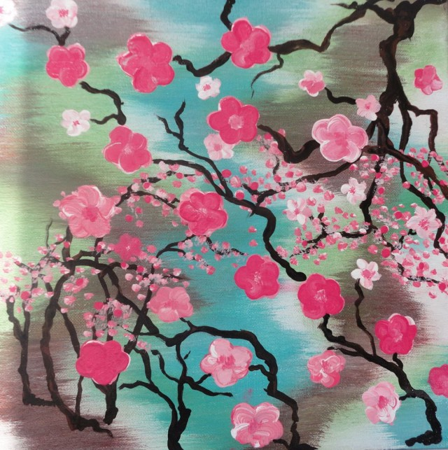 Abstract Cherry Blossom Wall Art