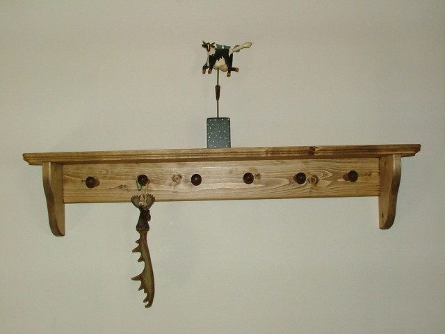 Antique Wall Mounted Coat Rack With Shelf