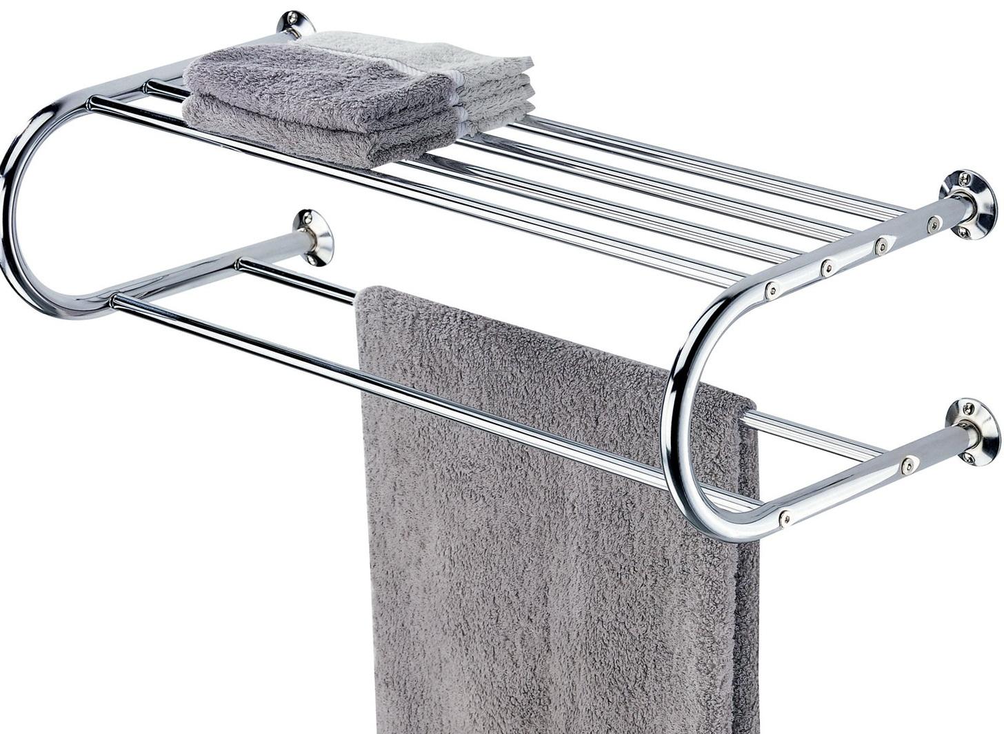 Bathroom wall shelf with towel bar