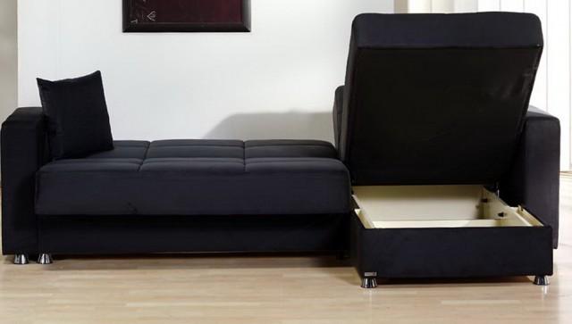 Black Sectional Sofa Microfiber