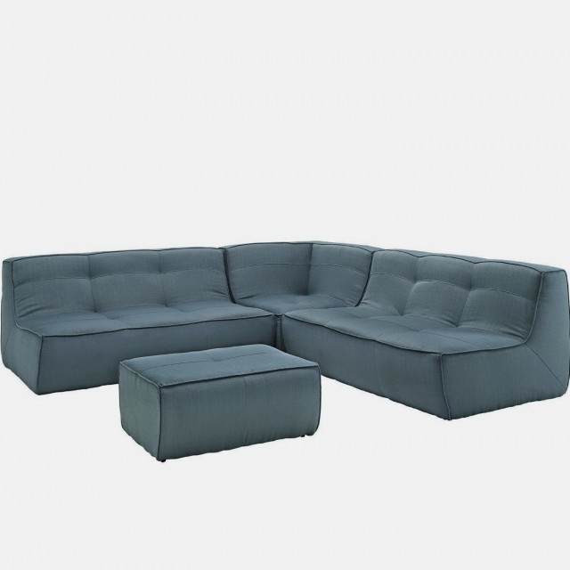 Blue Sectional Sofa Microfiber