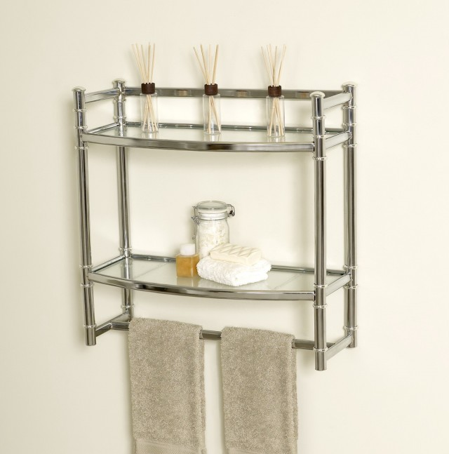 Brushed Nickel Bathroom Wall Shelf
