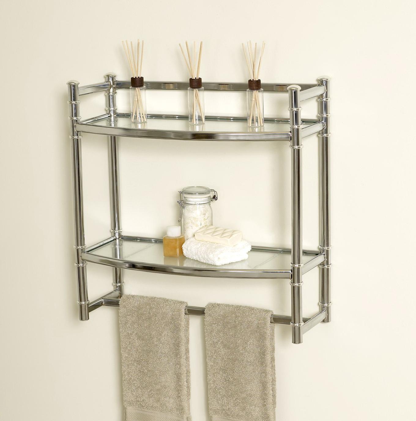 Brushed Nickel Bathroom Wall Shelf