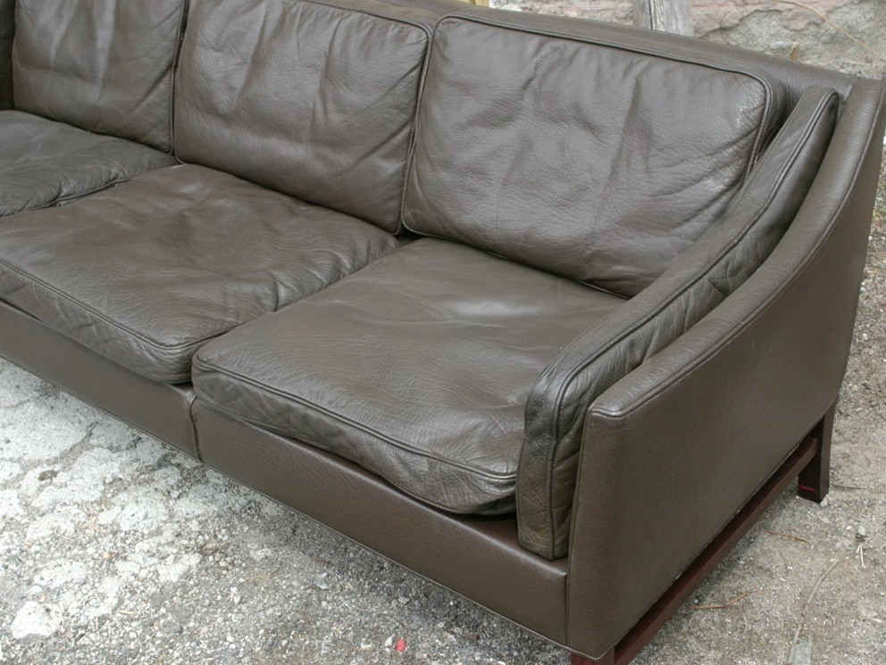 Charcoal Grey Leather Sofa
