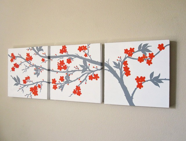 Cherry Blossom Wall Art Set 3
