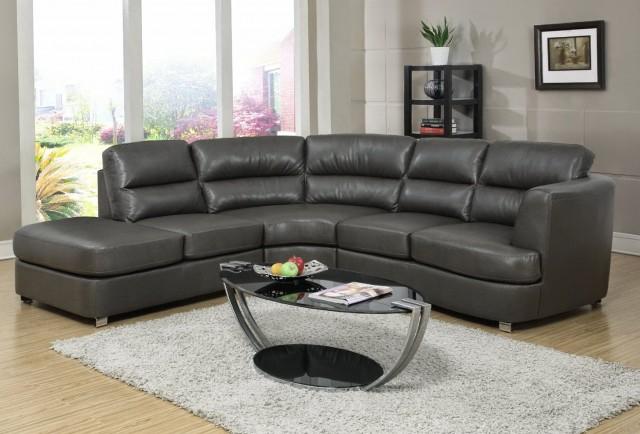 Dark Gray Leather Sofa