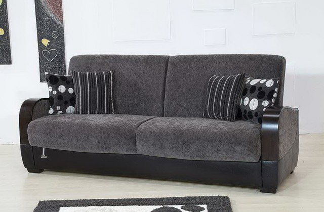 Gray Leather Sofa Bed