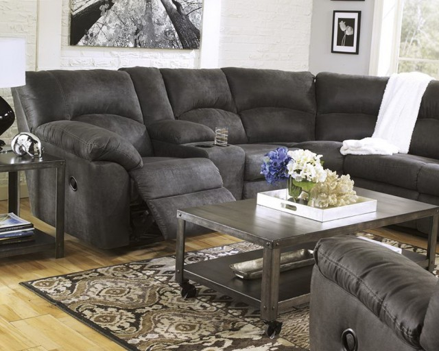 Gray Reclining Sectional Sofa