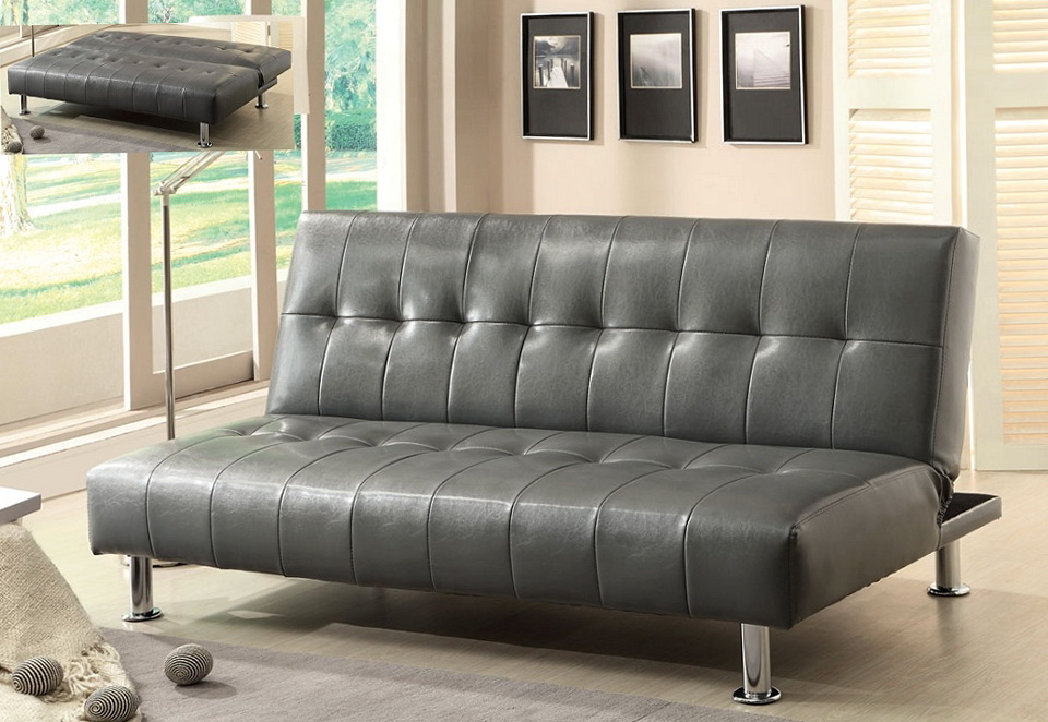 Grey Leather Sofa Bed
