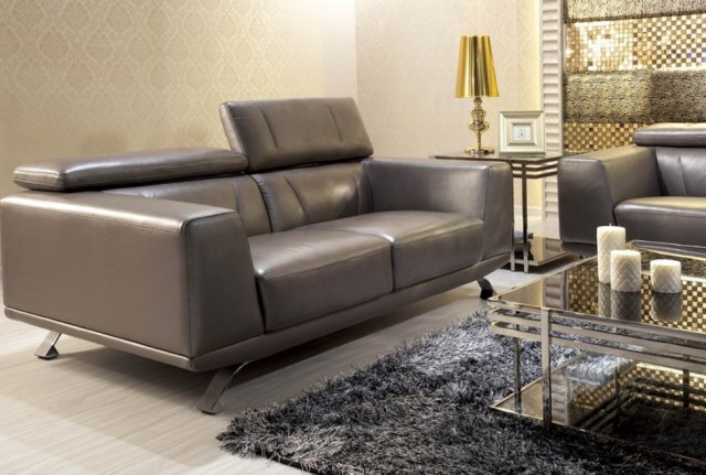 Grey Leather Sofa Modern
