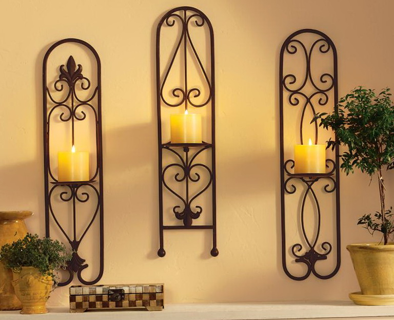 Large Metal Wall Art With Candles