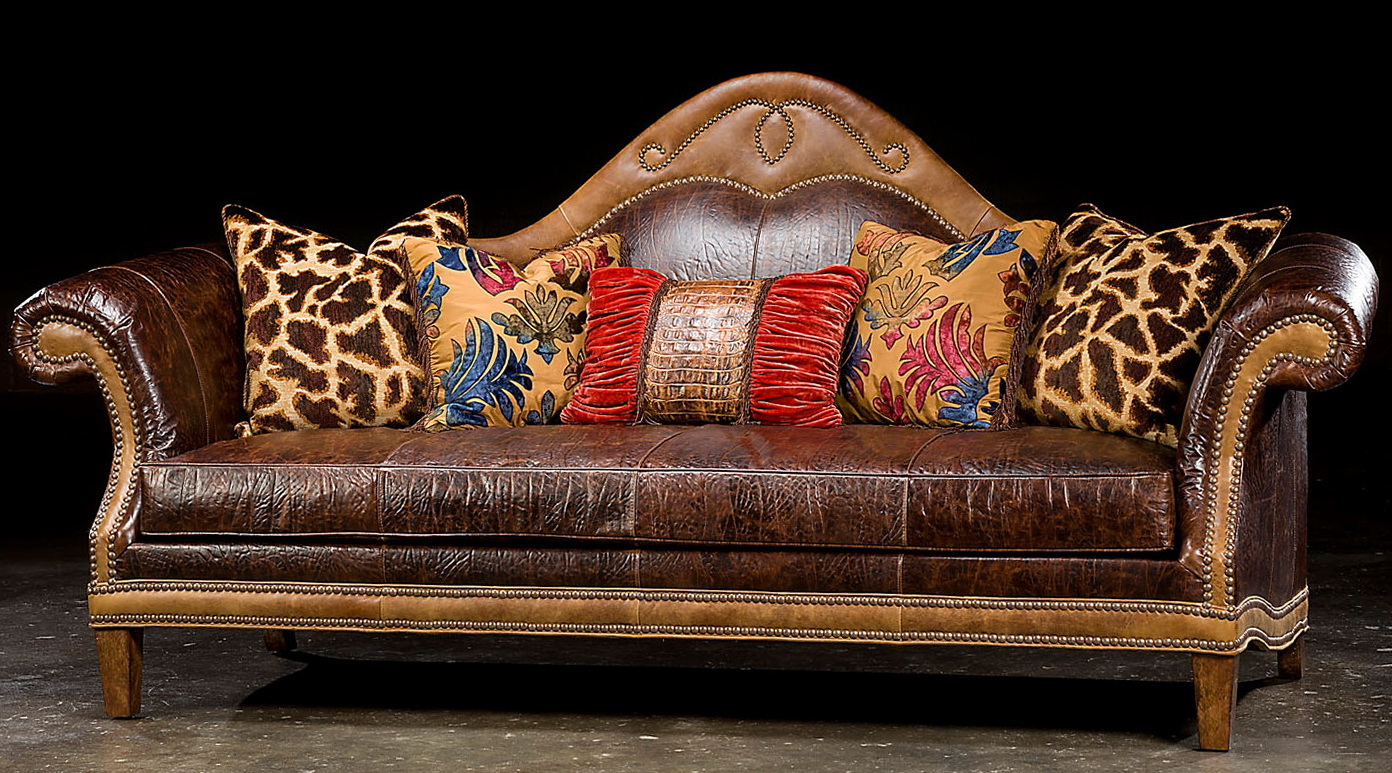 Leather Camel Back Sofa