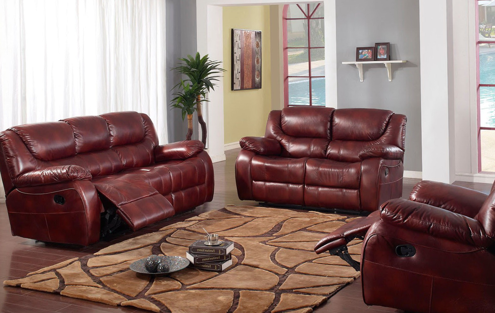 Leather Recliner Sofa Set