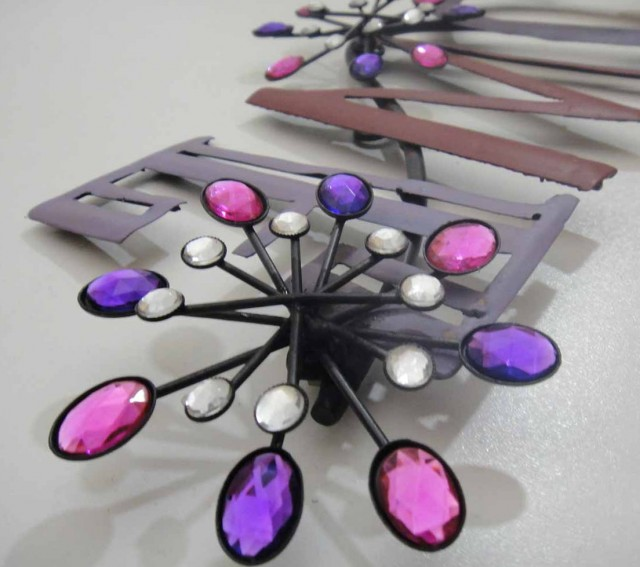 Metal Flower Wall Art Purple