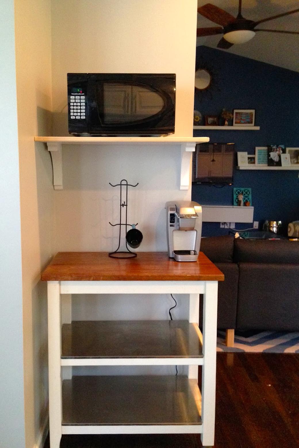 Microwave Wall Shelf Wood