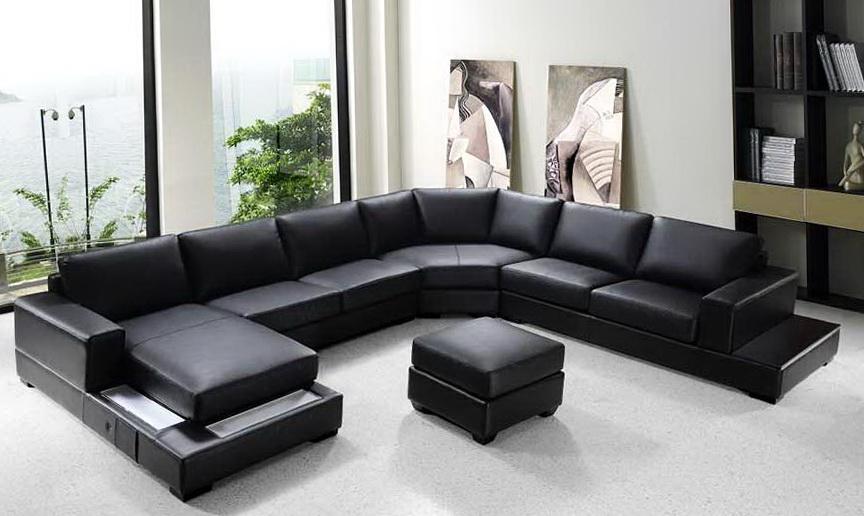 Modern Black Sectional Sofa