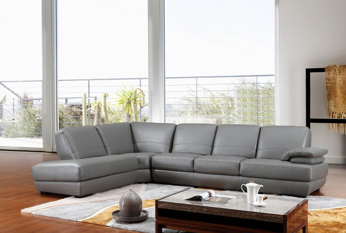Modern Gray Leather Sofa