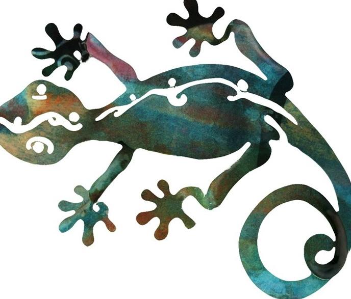 Outdoor Metal Wall Art Gecko